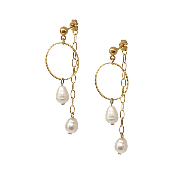 Wilson Gold Pearl Earrings