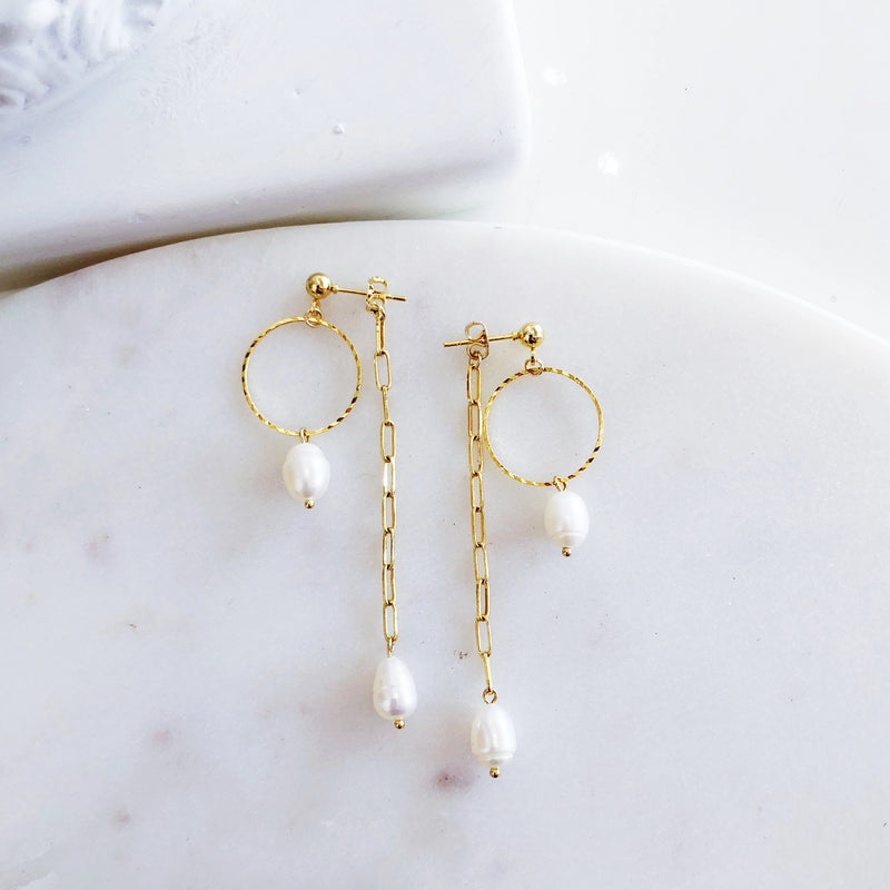 Delta Gold Pearl Earrings