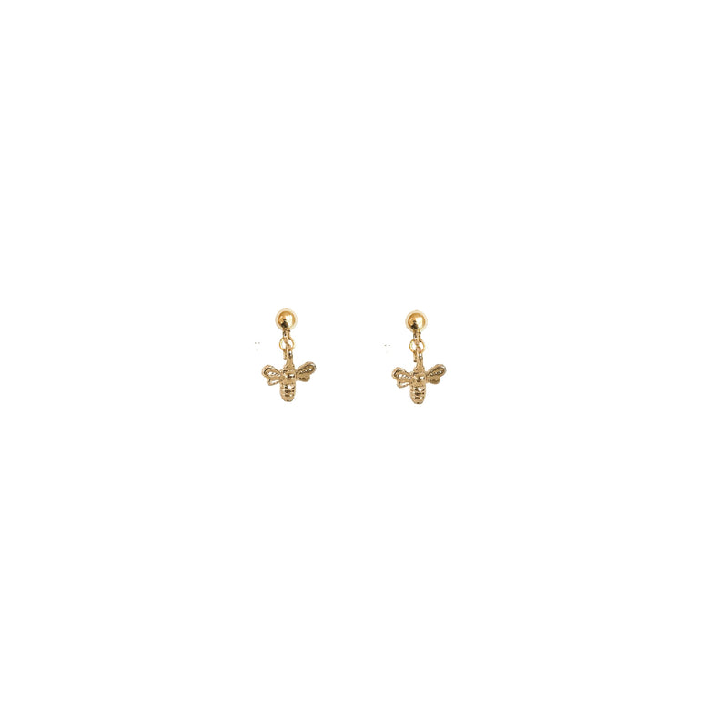 Gold Stud Earrings | 24K Gold Dynasty Tiny Gold Bee Stud Earrings