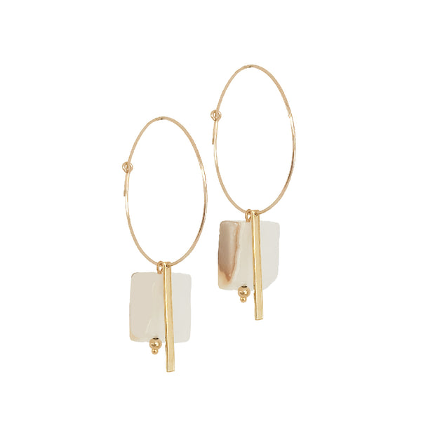 Eleni Onyx and Gold Hoop Earrings