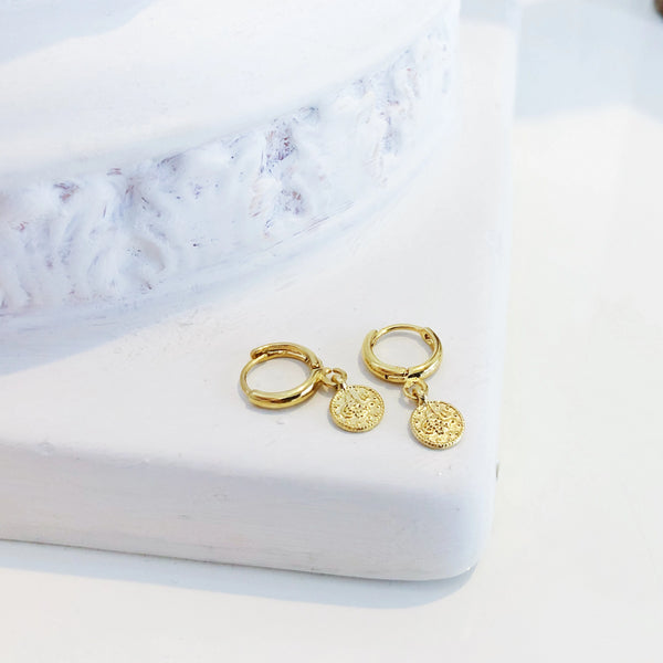 Small Hoop Earrings | 24K Gold Fortuna Uno Coin Small Hoop Earrings