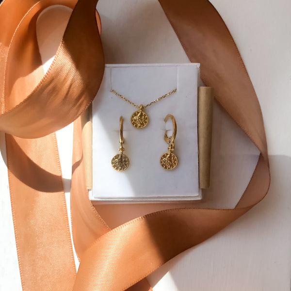 Gold Coin Necklace Set | 24K Gold Fortuna Coin Earrings & Necklace