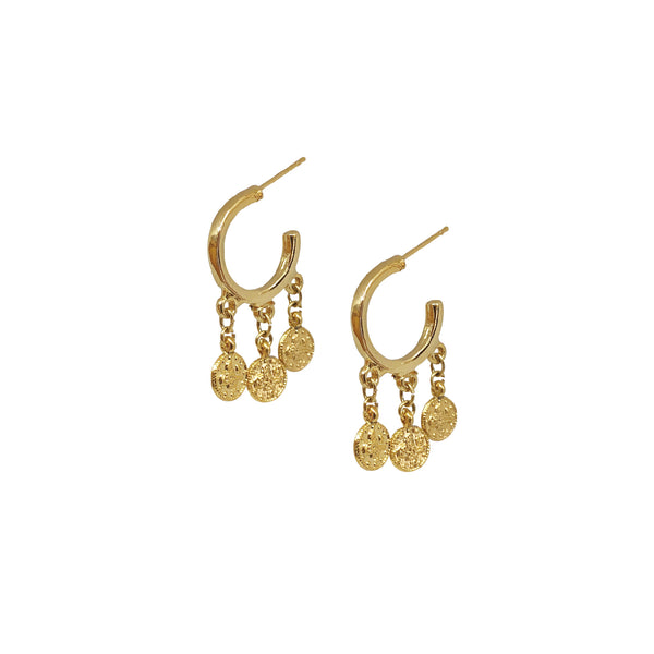 Small Hoop Earrings | 24K Gold Fortuna Triple Coin Hoop Earrings