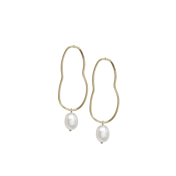 Drop Pearl Earrings | Alcie 18k Gold Drop Pearl Earrings