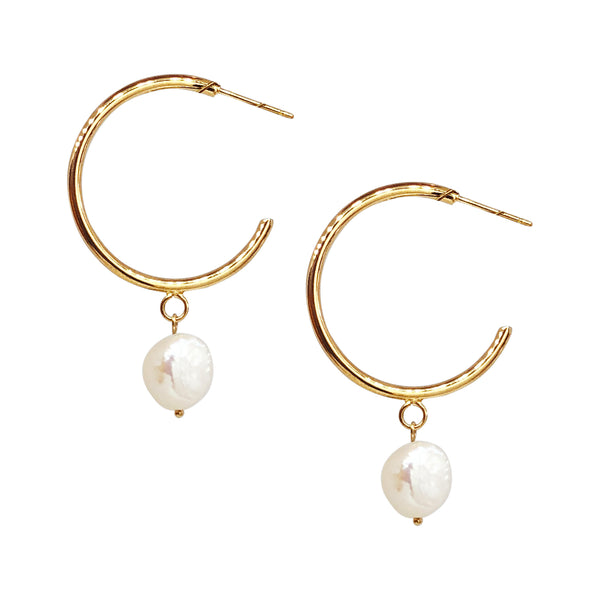 Alissa Gold Pearl Hoop Earrings