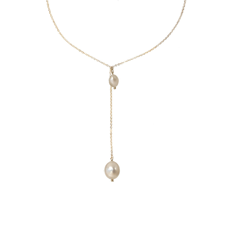 Gold Chain Necklace | 18K Gold and Pearl Lennon Drop Necklace