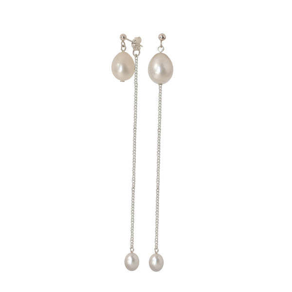 Drop Earrings | Silver and Pearl Lennon Earrings
