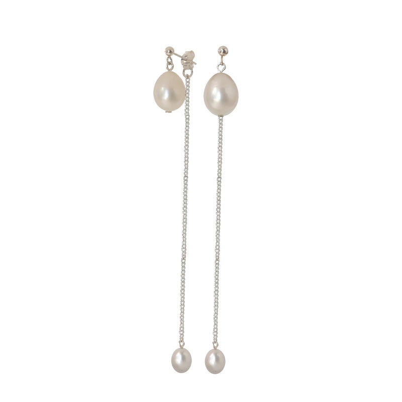 Lennon Front-to-back Pearl Drop Earrings in Silver