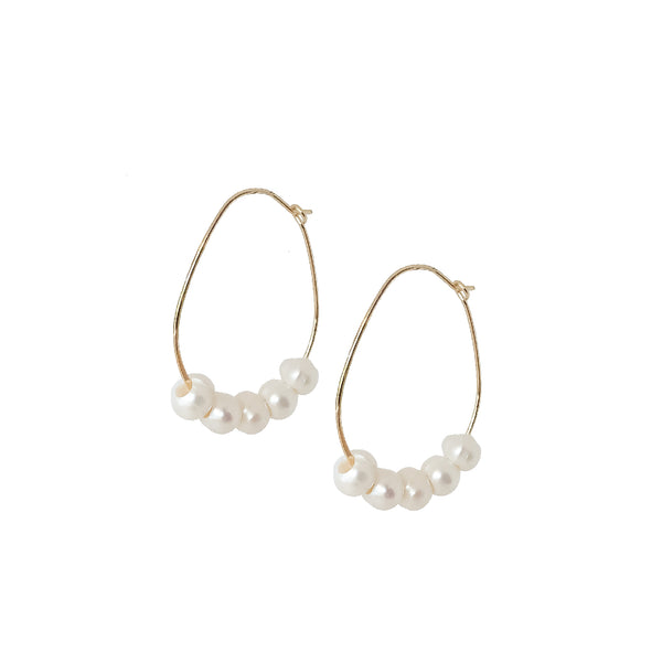 Gold Hoops | 18K Gold and Pearl Lily Hoop Earrings | Customisable