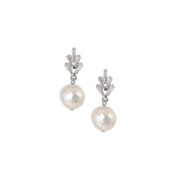 Stud Earrings | Silver Pearl and Cubic Zirconia Lyndell Stud Earrings