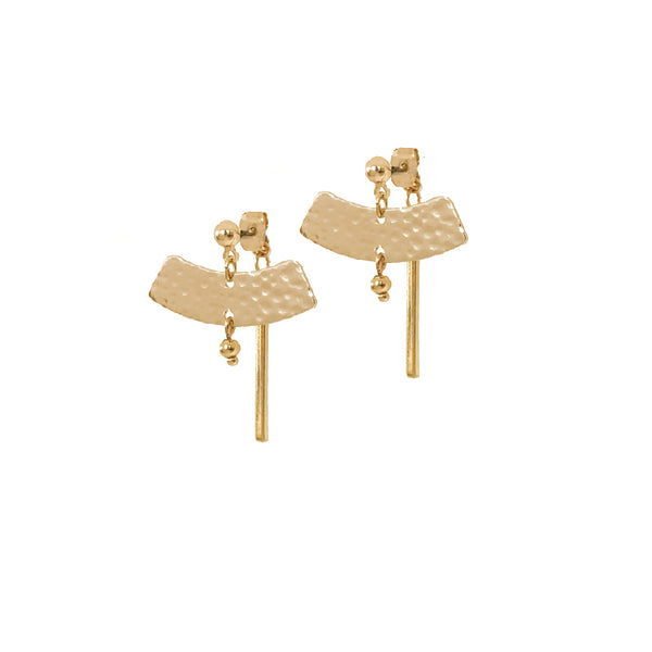 Gold Stud Earrings | 18K Gold Arcus 'Front-to-Back' Earrings