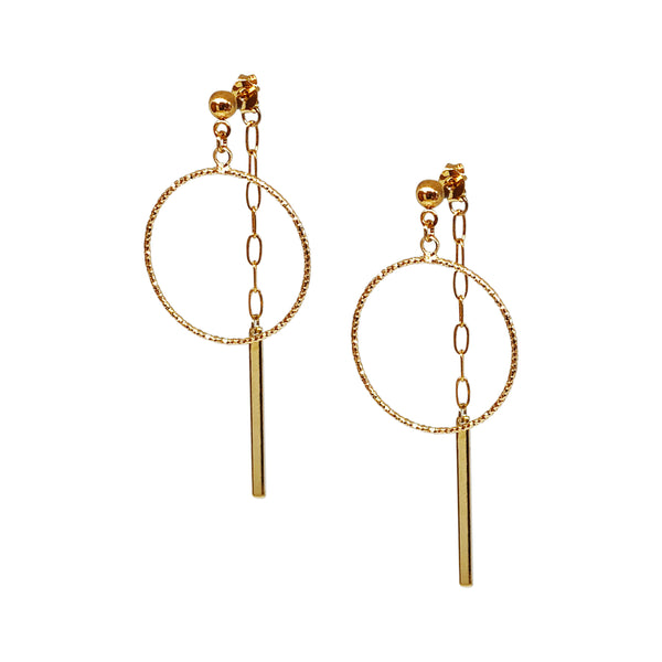 Drop Earrings | 24K Gold Easton Front-To-Back Earrings