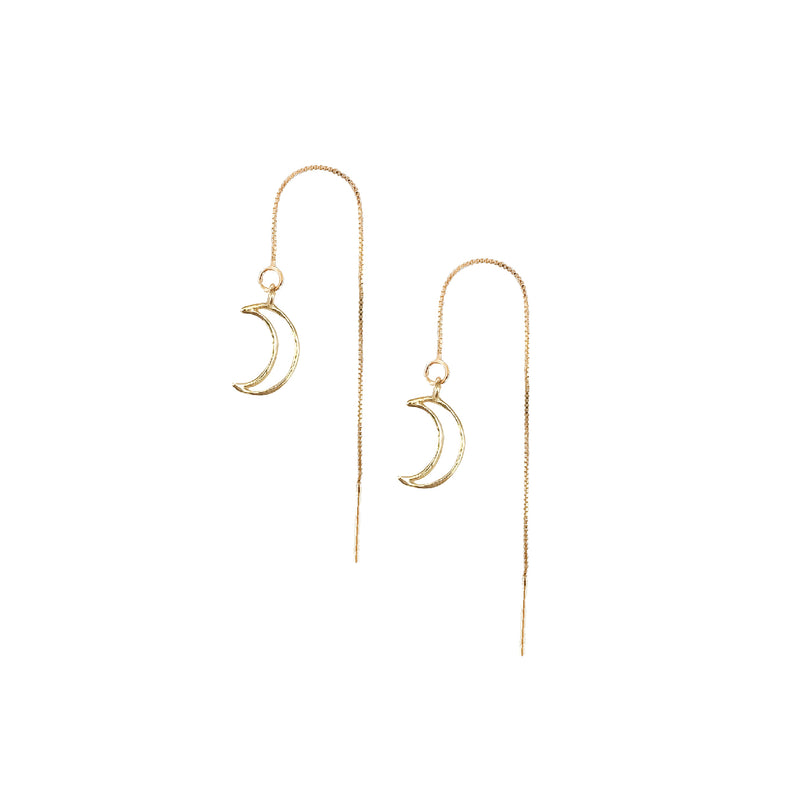 Drop Earrings | 18K Gold Mystic Moon Threader Earrings