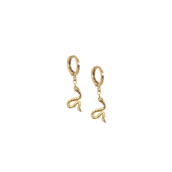 Hoop Earrings | 18K Gold Nirah Tiny Snake Mini Hoop Earrings