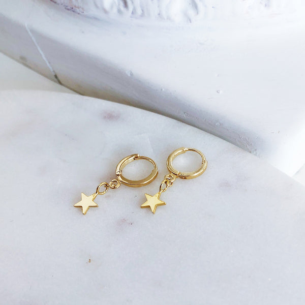Hoop Earrings | 18k Gold Olsen Tiny Star Mini Hoop Earrings