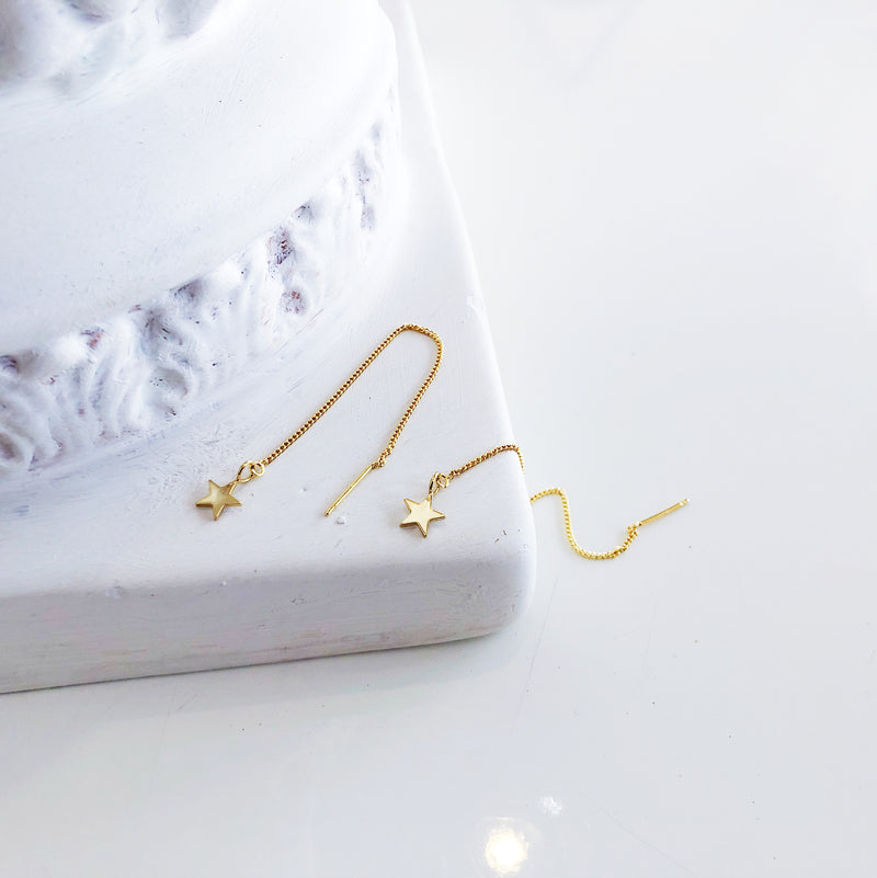 Gold Star Earrings | Olsen Gold Tiny Star Threader Earrings