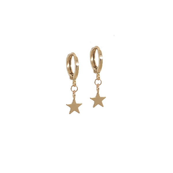 Star Hoop Earrings | Olsen 18k Gold Tiny Star Hoop Earrings