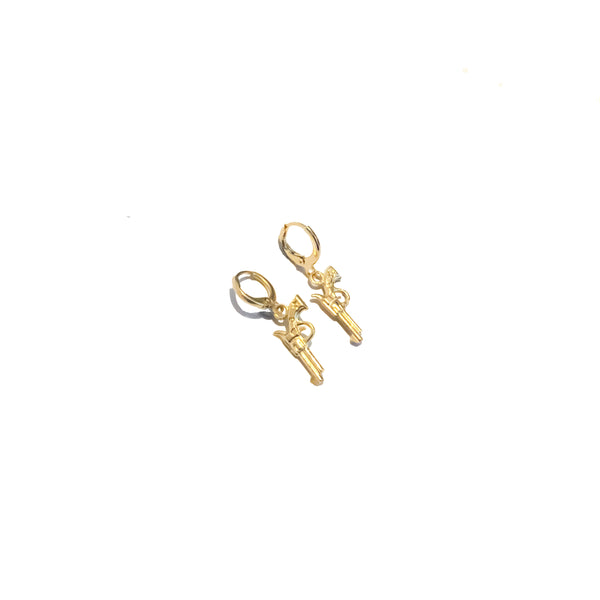 Pistol Hoops | 24K Gold Revolver Mini Hoop Earrings