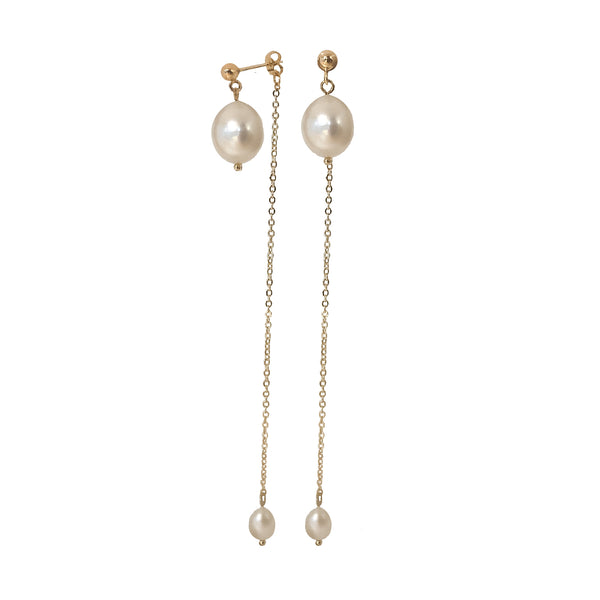 Drop Earrings | 24K Gold and Pearl Lennon Earrings