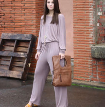 Load image into Gallery viewer, Mocha Wide Neck Jumpsuit