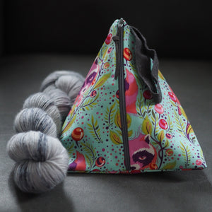 Turquoise Tula Racoons - Pyramid Project Bag - The Little Grey Girl