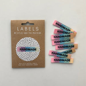 "Kylie and the Machine ""HANDMADE"" Rainbow Woven Labels 8 Pack"