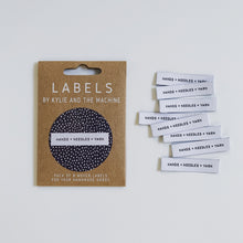 "Load image into Gallery viewer, Kylie and the Machine ""HANDS + NEEDLES + YARN"" Woven Labels 8 Pack - The Little Grey Girl"