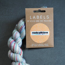 "Load image into Gallery viewer, Kylie and the Machine ""MADE WITH LOVE AND SWEAR WORDS"" Woven Labels 8 Pack - The Little Grey Girl"