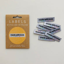"Load image into Gallery viewer, Kylie and the Machine ""MADE WITH LOVE AND SWEAR WORDS"" Woven Labels 8 Pack"