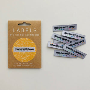 "Kylie and the Machine ""MADE WITH LOVE AND SWEAR WORDS"" Woven Labels 8 Pack"