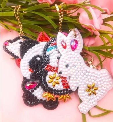 Animal diamond painting keychain