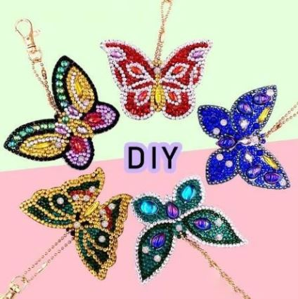 butterfly diamond painting keychain