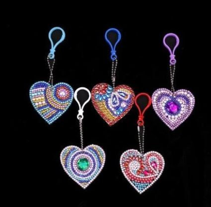 heart diamond painting keychain