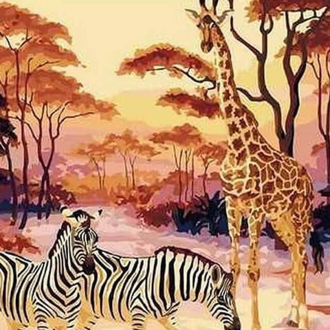 Giraffe & Zebras in the Wild -  DIY Painting By Numbers