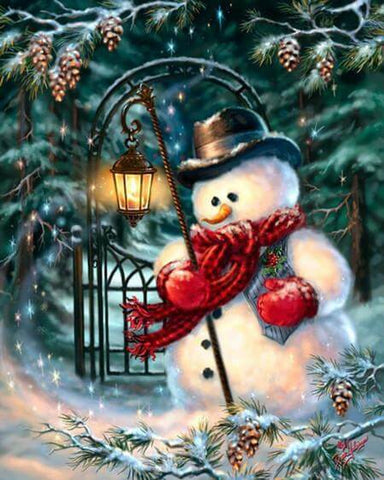 Image of Snowman holding a lantern - DIY Diamond  Painting