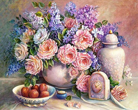 Image of Pink Flowers - DIY Diamond  Painting