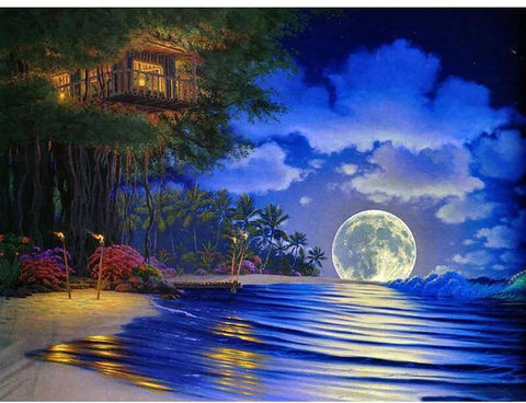 Image of Seashore Moonlight Scenery - DIY Diamond Painting