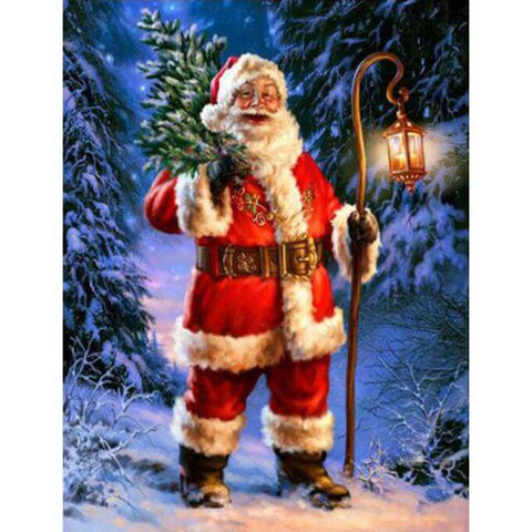 Image of Santa with lantern and a branch - DIY Diamond Painting