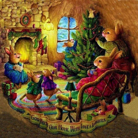 Image of Rabbit family in Christmas day - DIY Diamond Painting