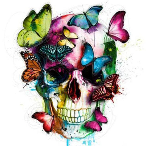 Image of Colourful Skull with Butterflies  -  DIY Diamond  Painting