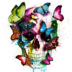 Colourful Skull with Butterflies  -  DIY Diamond  Painting