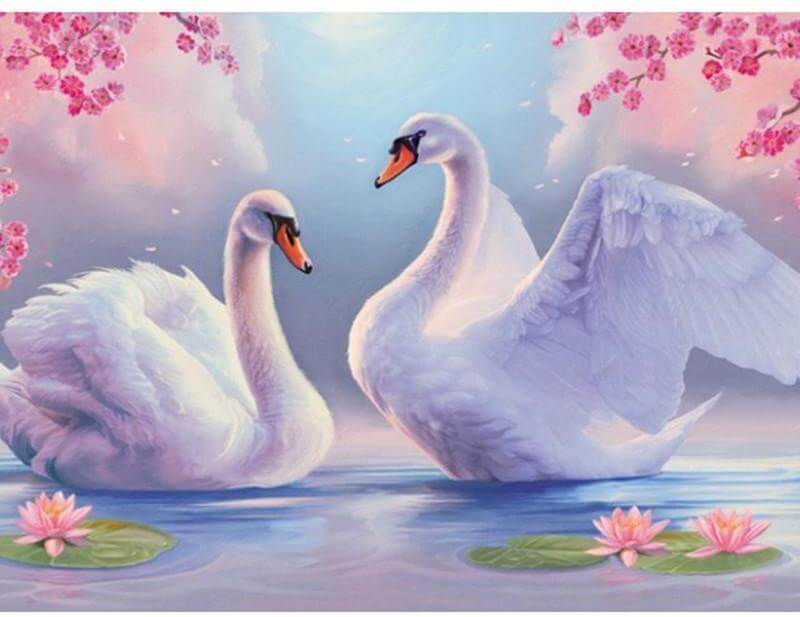 Couple Swan - DIY Diamond Painting