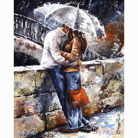 Image of Kissing in the Rain - DIY Diamond  Painting
