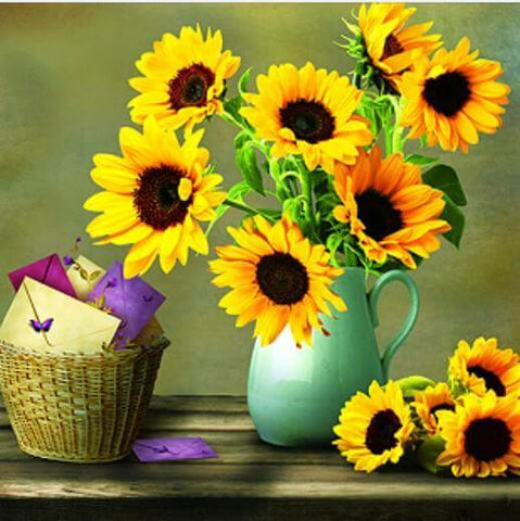 Sunflower and letters - DIY Diamond Painting