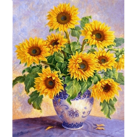 Sunflower in a Blue Vase - DIY Diamond  Painting