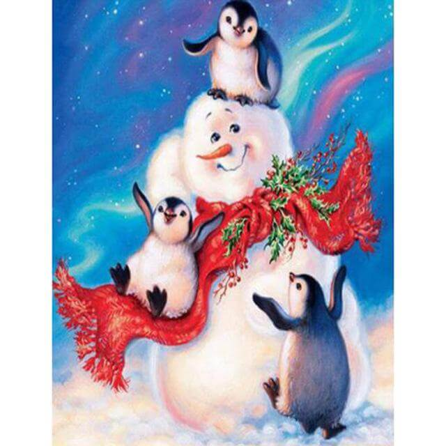 Penguins playing with Snowman  - DIY Diamond Painting