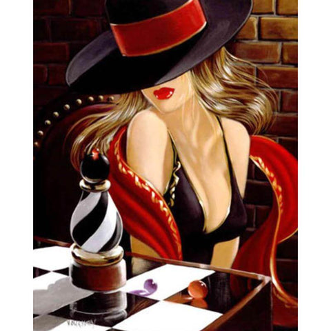 Image of Girl playing chess - DIY Diamond Painting