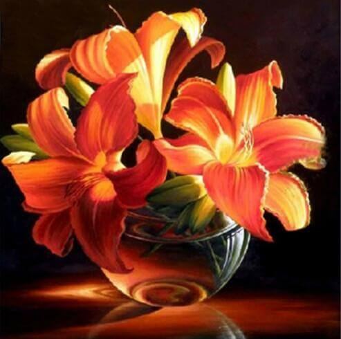 Blooming Orange Flower - DIY Diamond Painting
