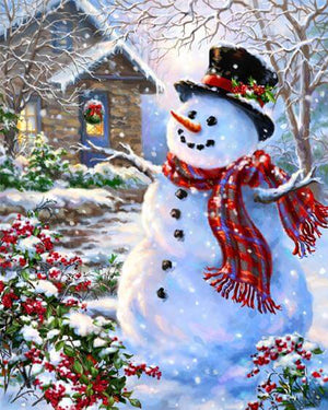 Snowman with red scarf- DIY Diamond  Painting