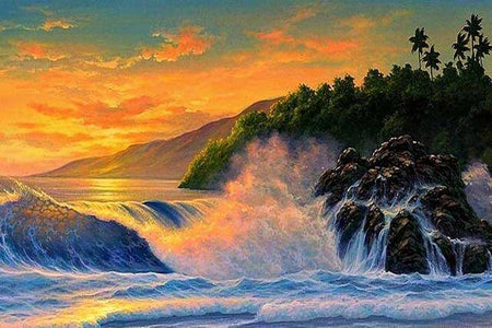 Sunset sea landscape - DIY Diamond Painting